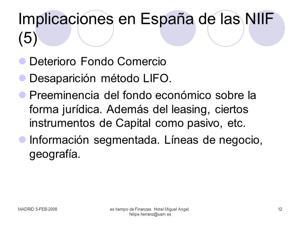 Implicaciones en España de las NIIF (5)
