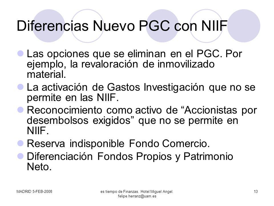 Diferencias Nuevo PGC con NIIF