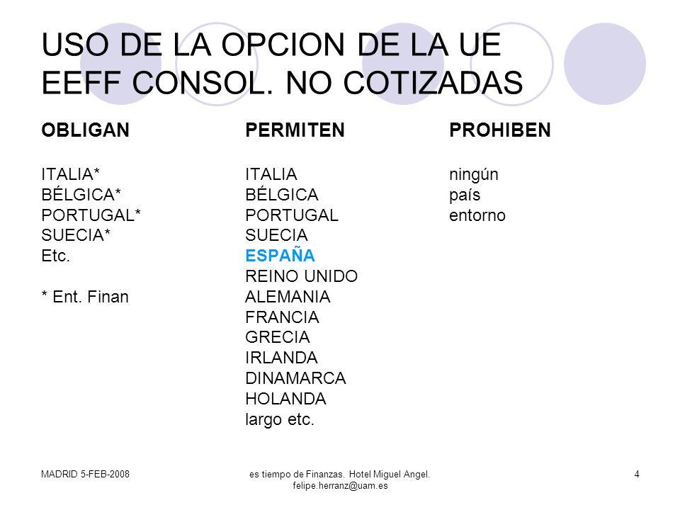 USO DE LA OPCION DE LA UE EEFF CONSOL. NO COTIZADAS