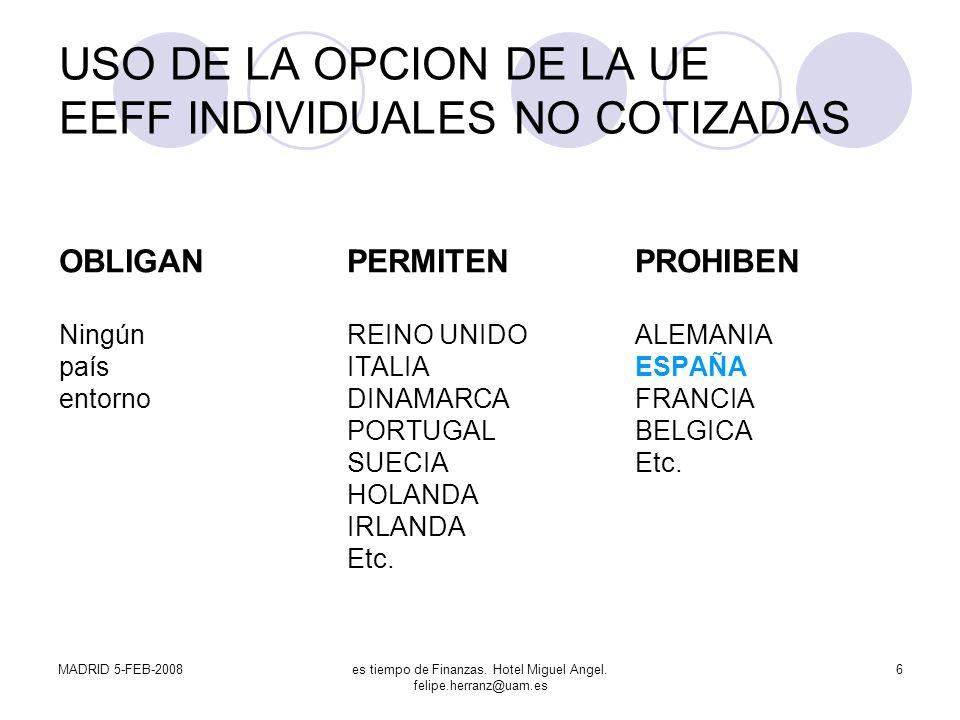 USO DE LA OPCION DE LA UE EEFF INDIVIDUALES NO COTIZADAS