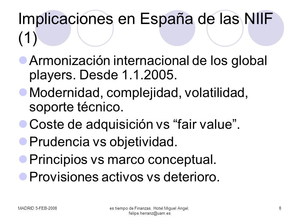 Implicaciones en España de las NIIF (1)