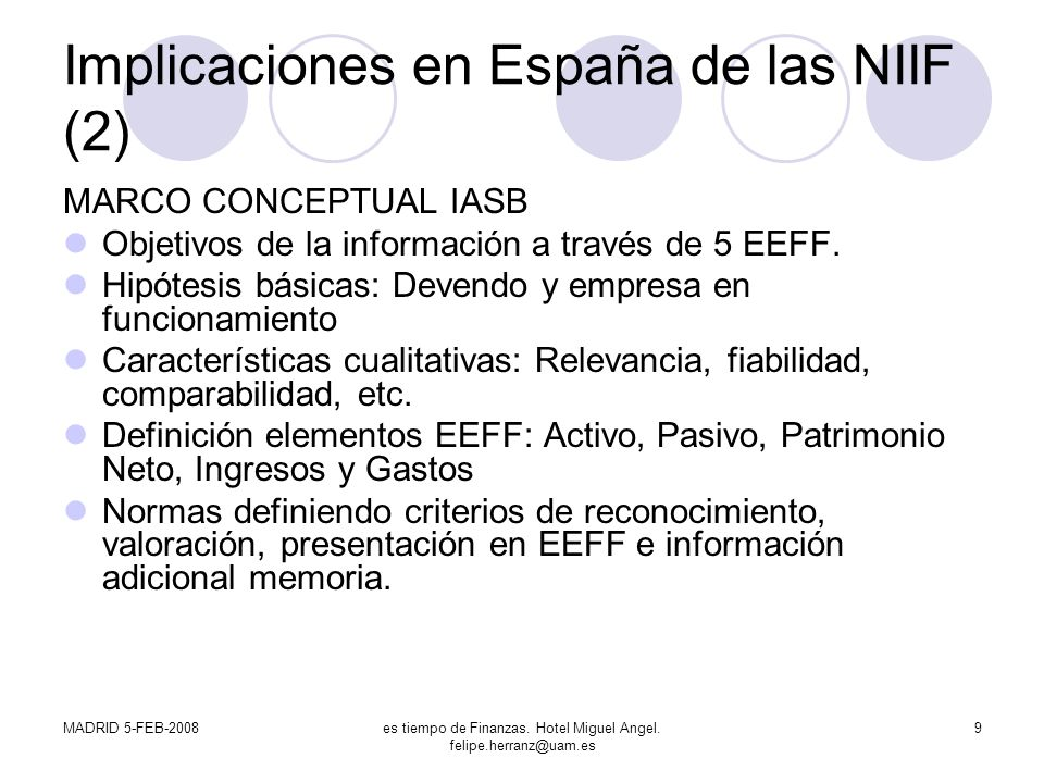 Implicaciones en España de las NIIF (2)