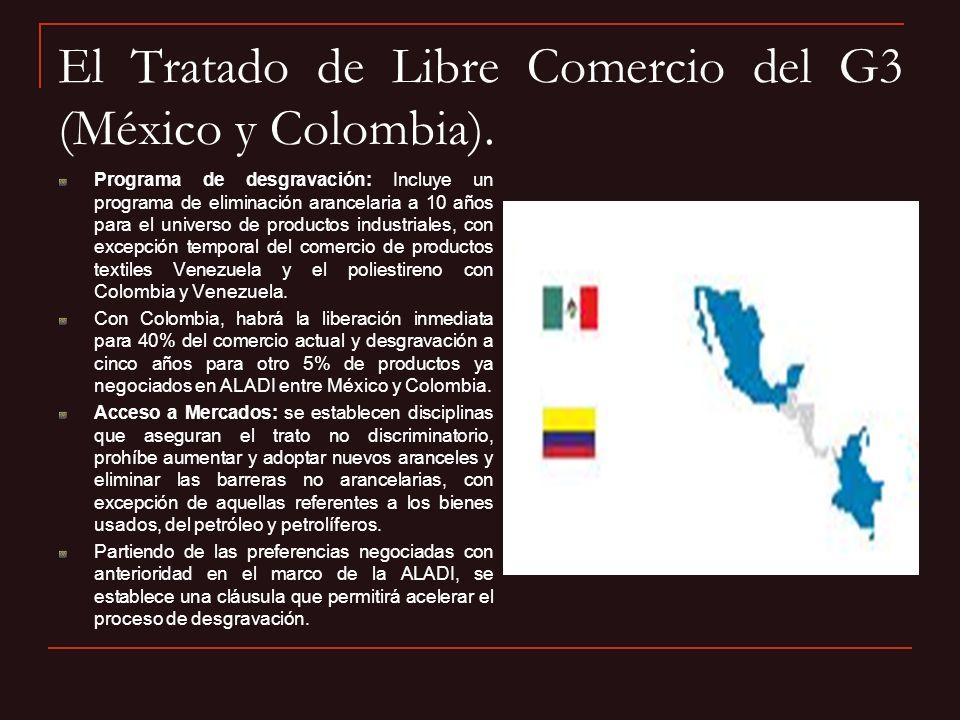 El Tratado de Libre Comercio del G3 (México y Colombia).