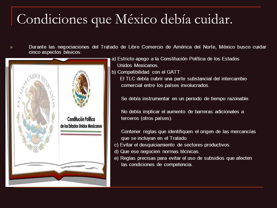 Condiciones que México debía cuidar.