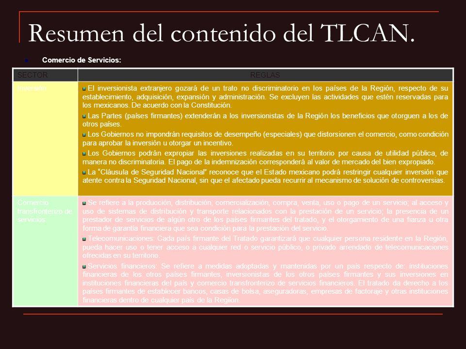 Resumen del contenido del TLCAN.