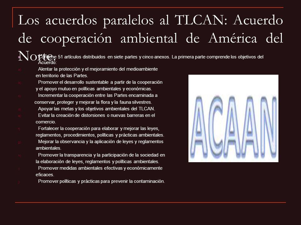 Los acuerdos paralelos al TLCAN: Acuerdo de cooperación ambiental de América del Norte.