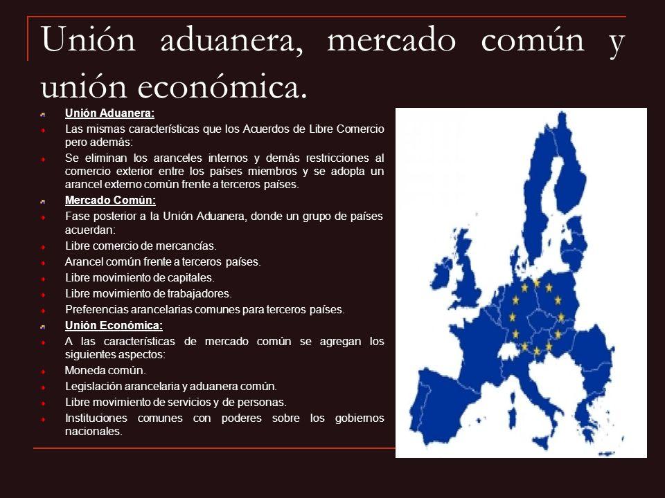 Unión aduanera, mercado común y unión económica.