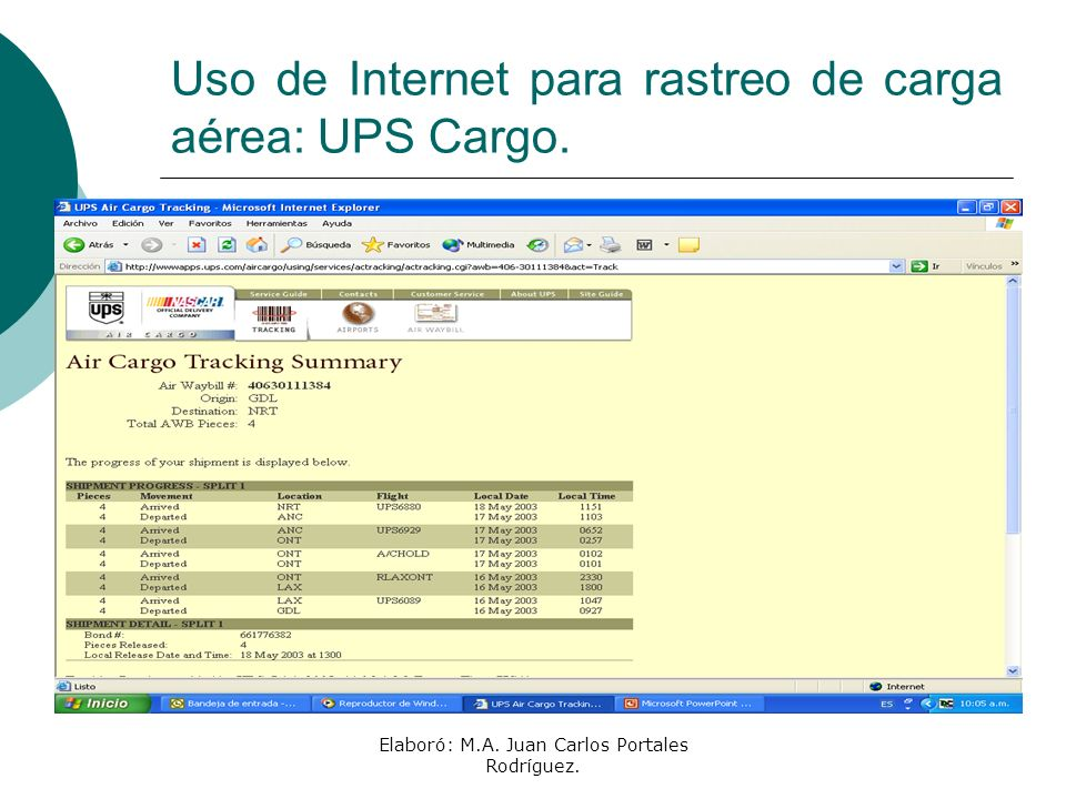 Uso de Internet para rastreo de carga aérea: UPS Cargo.
