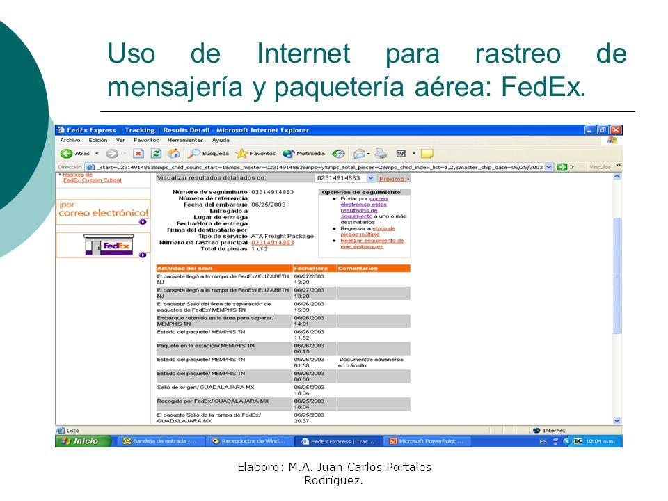 Uso de Internet para rastreo de mensajería y paquetería aérea: FedEx.