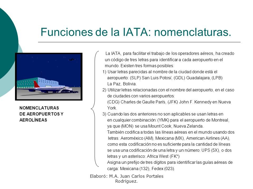 Funciones de la IATA: nomenclaturas.