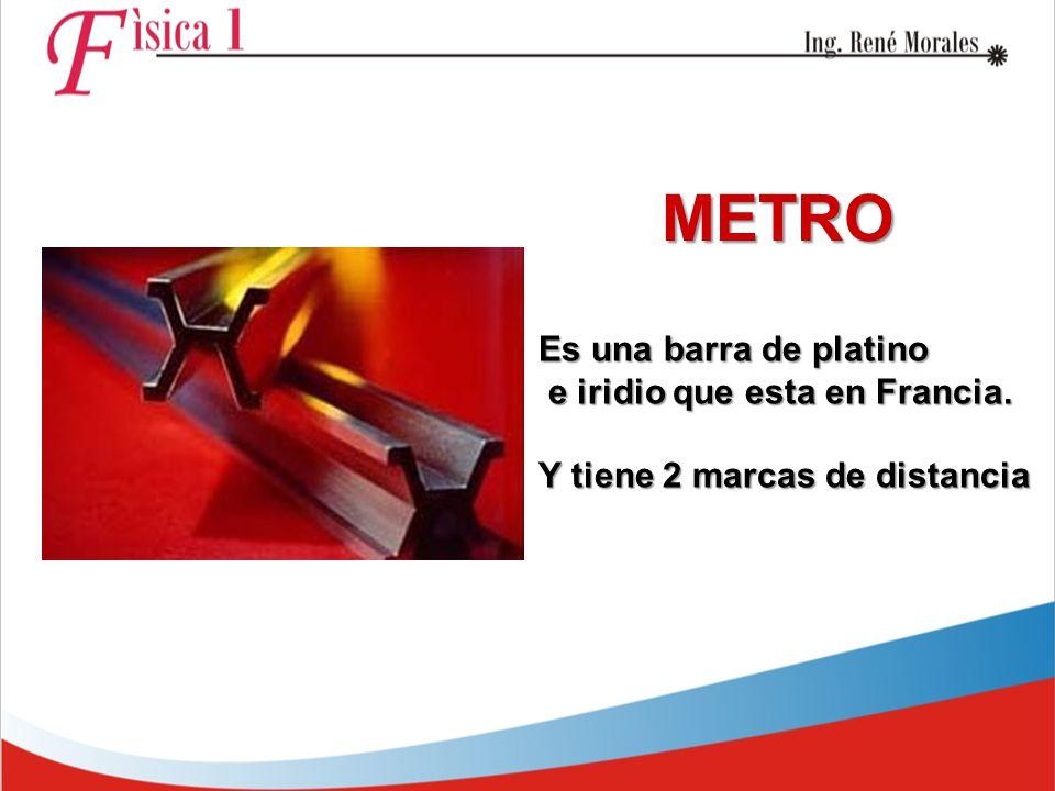 METRO Es una barra de platino e iridio que esta en Francia.