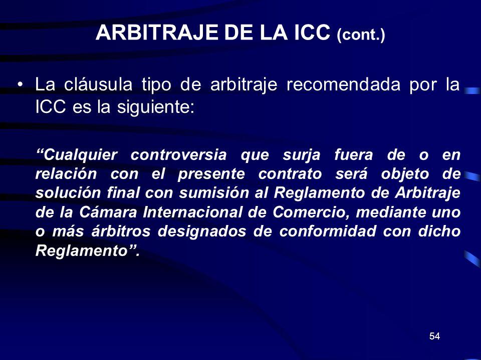 ARBITRAJE DE LA ICC (cont.)
