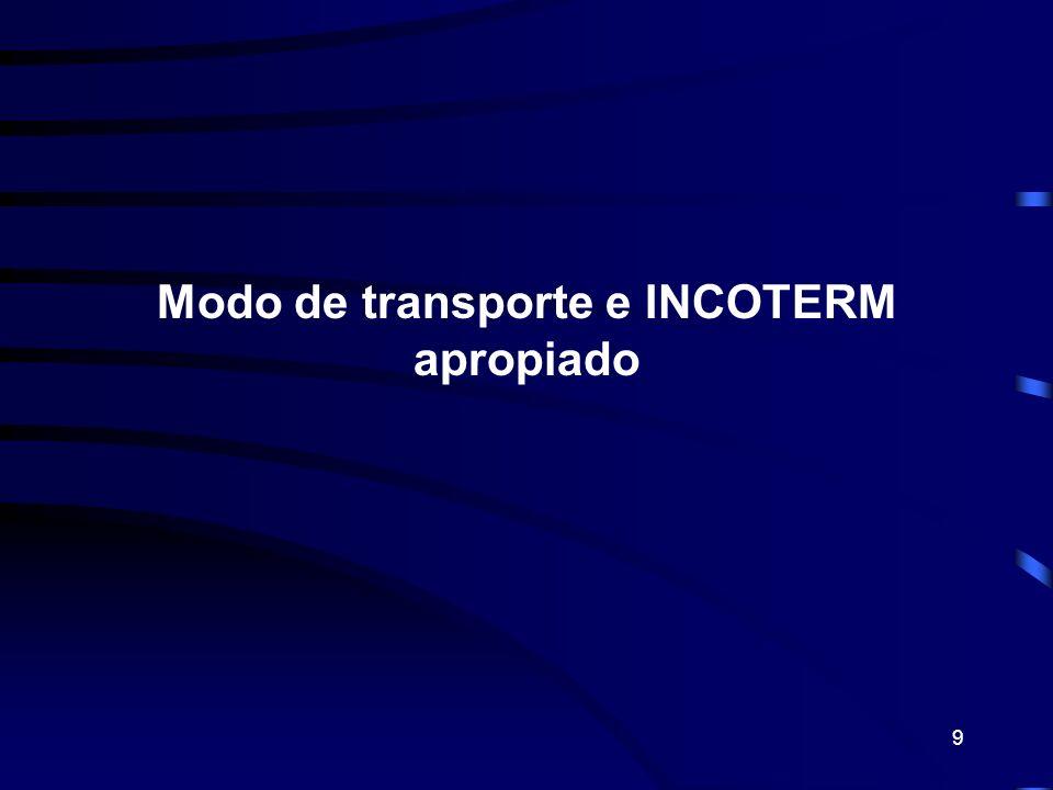 Modo de transporte e INCOTERM apropiado