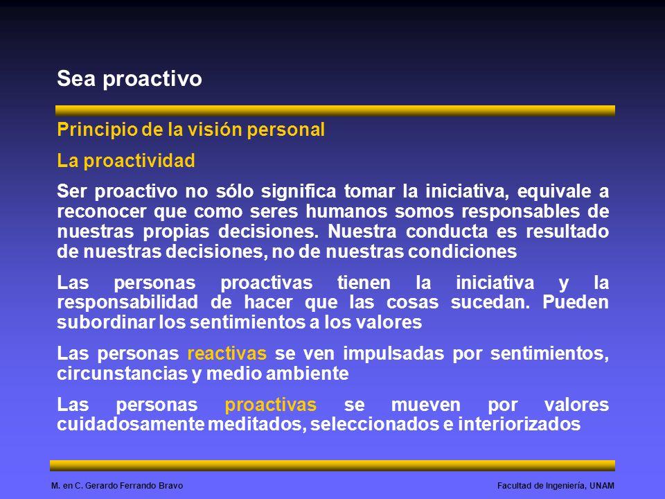 Sea proactivo Principio de la visión personal La proactividad