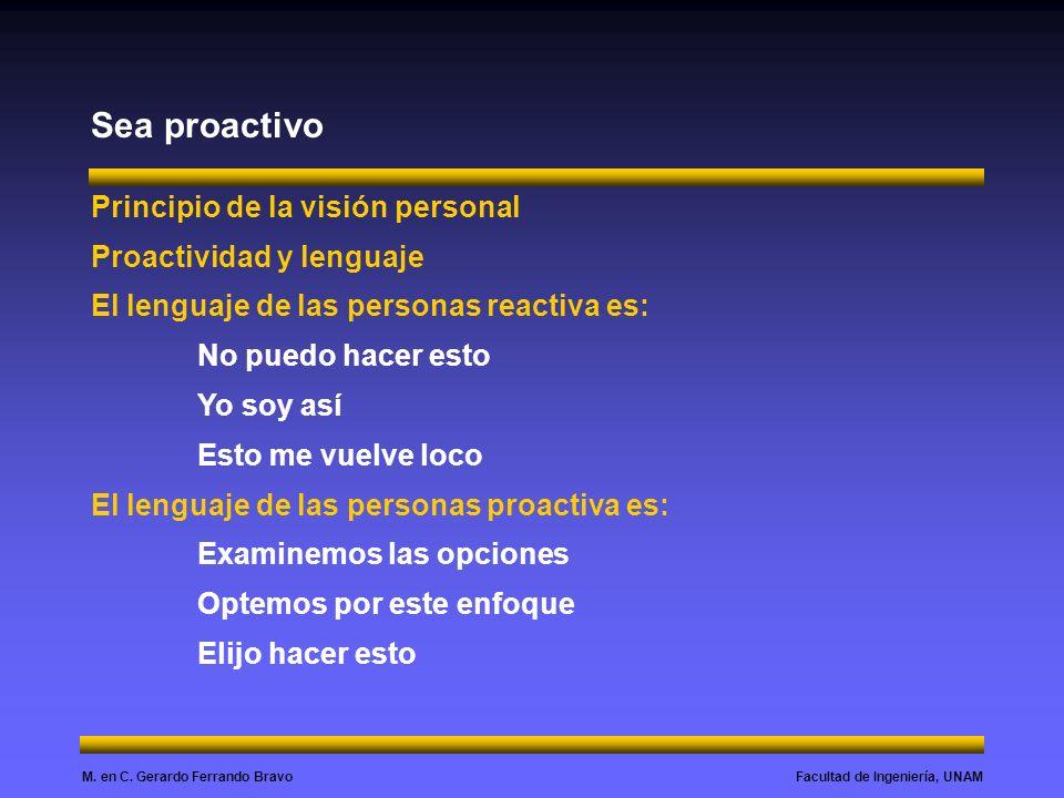 Sea proactivo Principio de la visión personal Proactividad y lenguaje