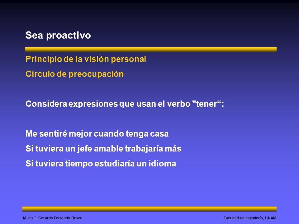 Sea proactivo Principio de la visión personal Círculo de preocupación