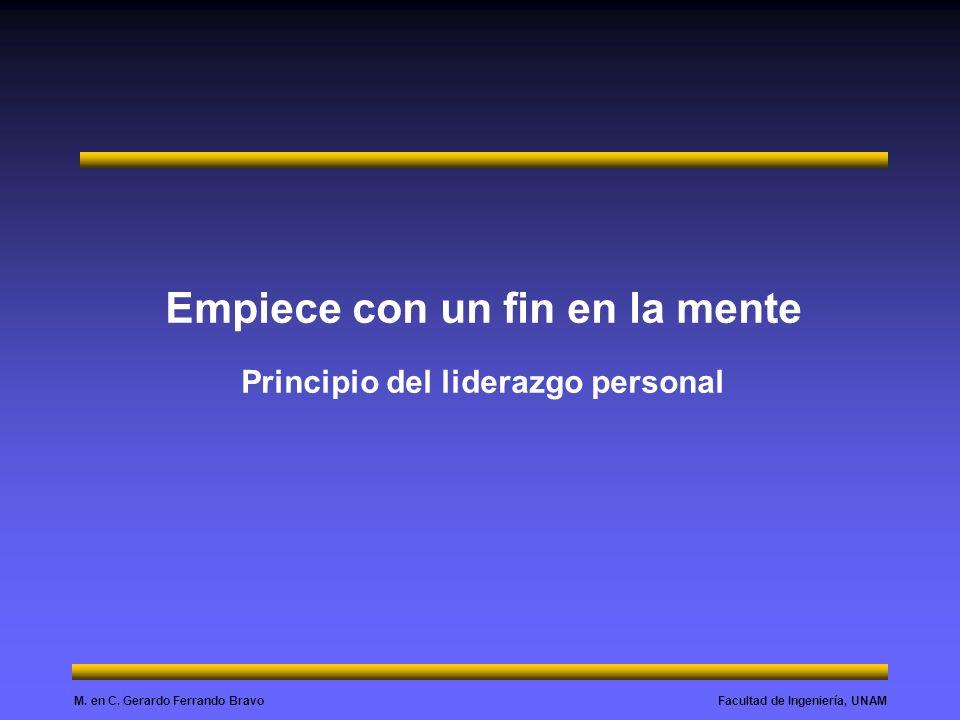 Empiece con un fin en la mente Principio del liderazgo personal