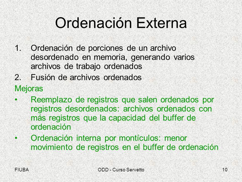 Ordenación Externa Ordenación de porciones de un archivo desordenado en memoria, generando varios archivos de trabajo ordenados.