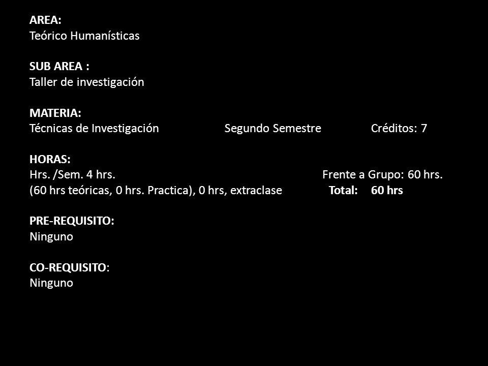 AREA: Teórico Humanísticas. SUB AREA : Taller de investigación. MATERIA: Técnicas de Investigación Segundo Semestre Créditos: 7.