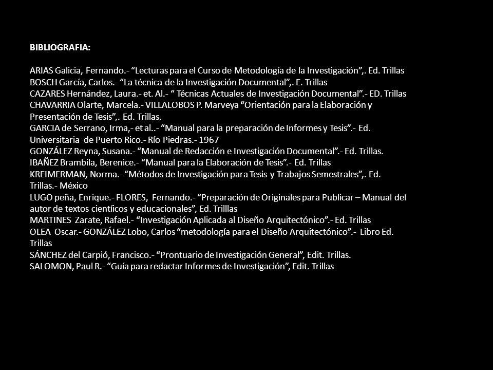 BIBLIOGRAFIA: ARIAS Galicia, Fernando.- Lecturas para el Curso de Metodología de la Investigación ,. Ed. Trillas.