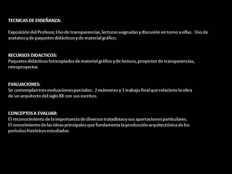 TECNICAS DE ENSEÑANZA: Exposición del Profesor, Uso de transparencias, lecturas asignadas y discusión en torno a ellas.