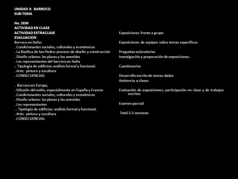 UNIDAD 3: BARROCO SUB-TEMA. No. SEM. ACTIVIDAD EN CLASE. ACTIVIDAD EXTRACLASE. Exposiciones frente a grupo.