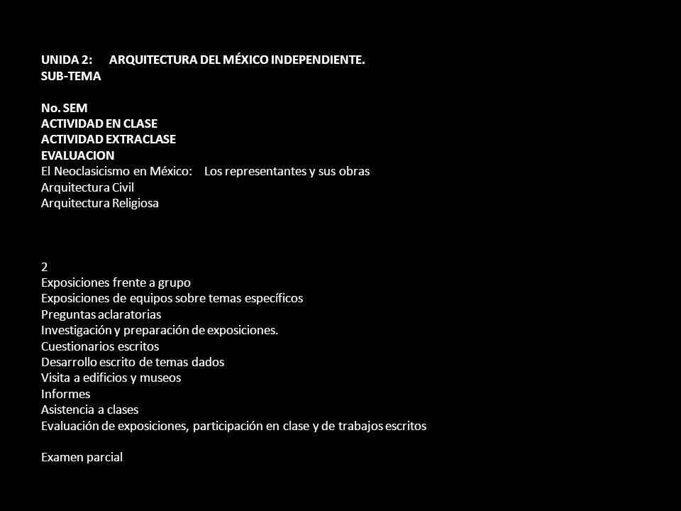 UNIDA 2: ARQUITECTURA DEL MÉXICO INDEPENDIENTE.