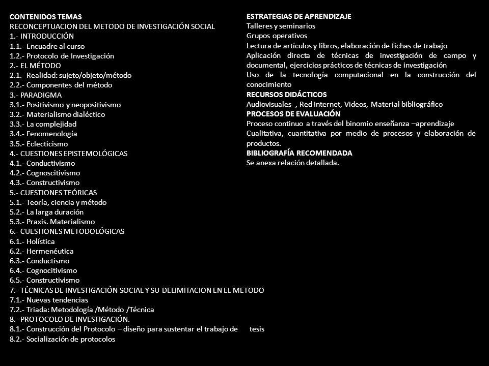 CONTENIDOS TEMAS RECONCEPTUACION DEL METODO DE INVESTIGACIÓN SOCIAL. 1.- INTRODUCCIÓN. 1.1.- Encuadre al curso.