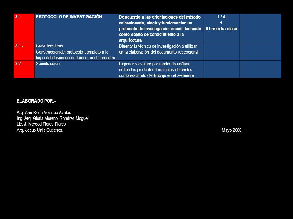 8.- PROTOCOLO DE INVESTIGACIÓN.