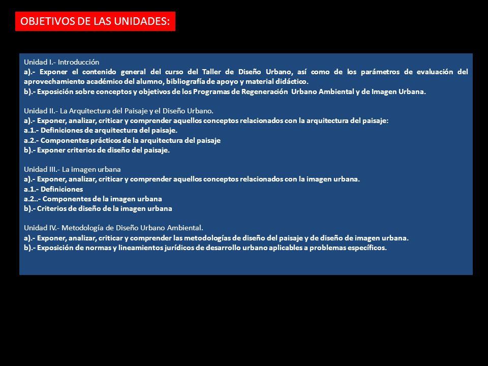 OBJETIVOS DE LAS UNIDADES: