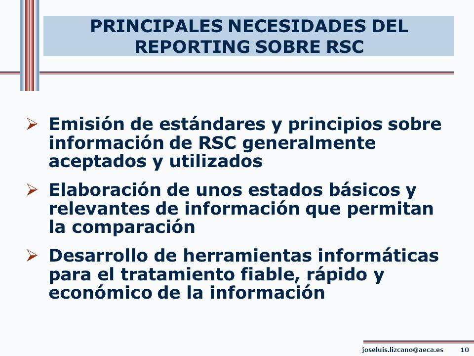PRINCIPALES NECESIDADES DEL REPORTING SOBRE RSC