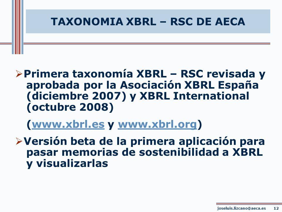 TAXONOMIA XBRL – RSC DE AECA joseluis.lizcano@aeca.es 12