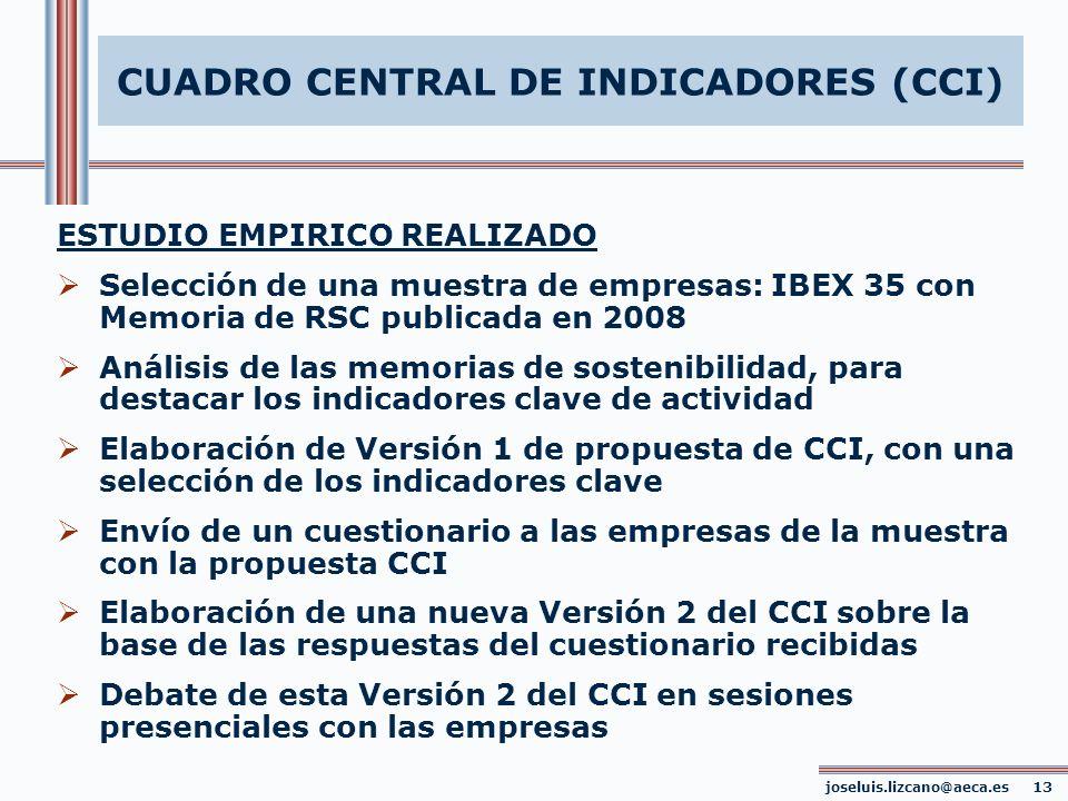 CUADRO CENTRAL DE INDICADORES (CCI) joseluis.lizcano@aeca.es 13