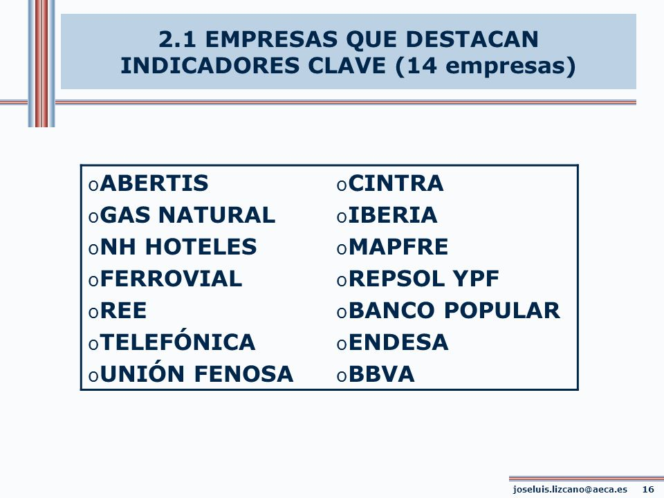 2.1 EMPRESAS QUE DESTACAN INDICADORES CLAVE (14 empresas)