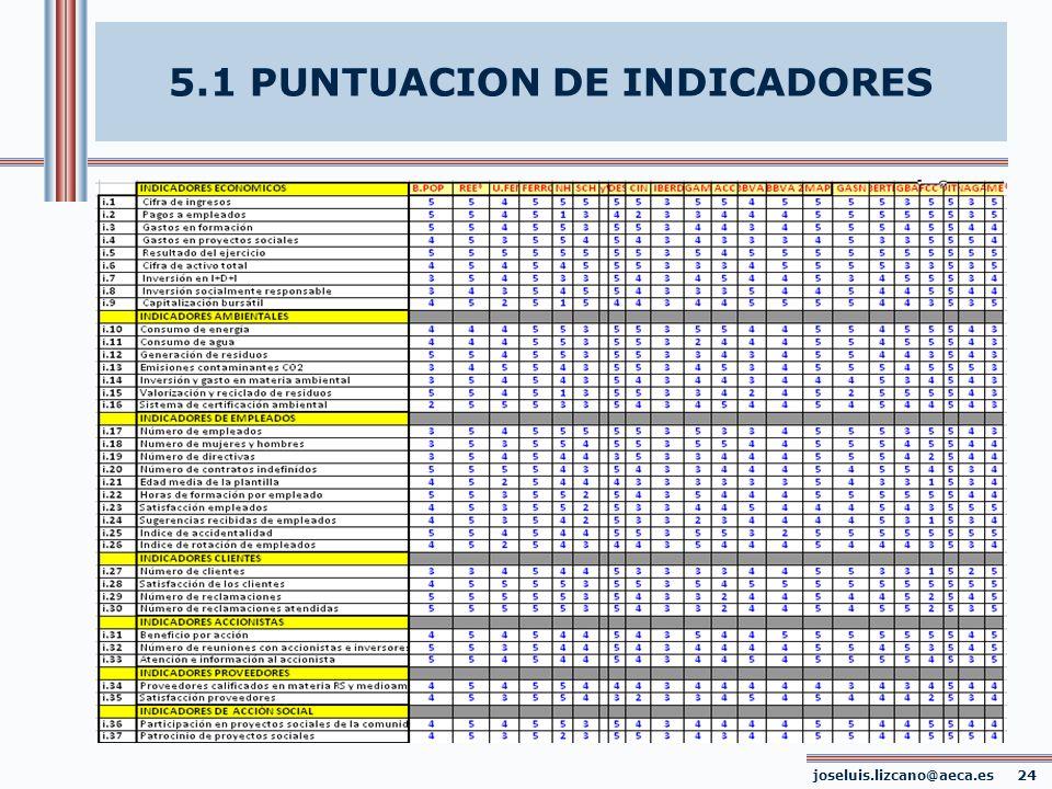 5.1 PUNTUACION DE INDICADORES joseluis.lizcano@aeca.es 24