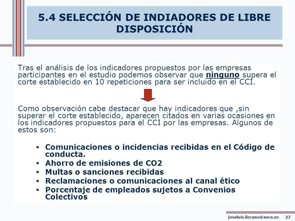 5.4 SELECCIÓN DE INDIADORES DE LIBRE DISPOSICIÓN
