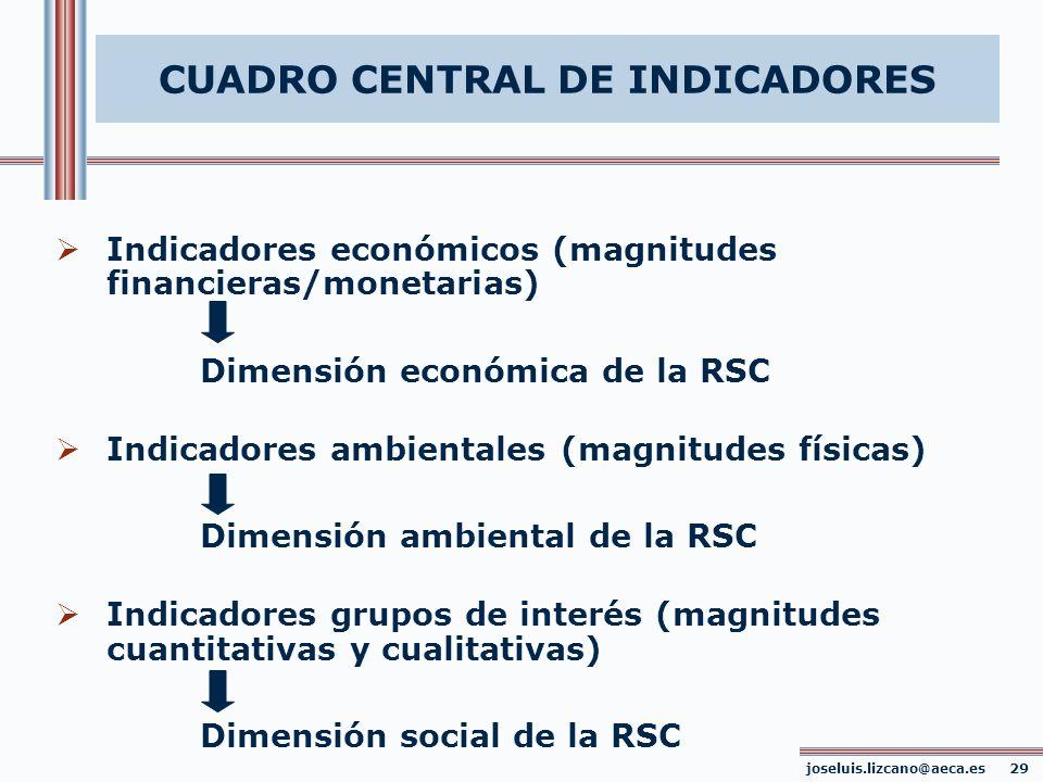 CUADRO CENTRAL DE INDICADORES joseluis.lizcano@aeca.es 29