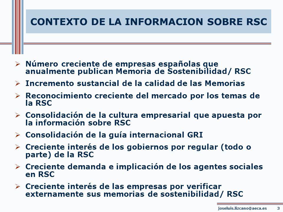 CONTEXTO DE LA INFORMACION SOBRE RSC