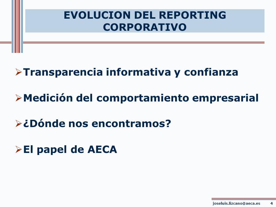 EVOLUCION DEL REPORTING CORPORATIVO joseluis.lizcano@aeca.es 04