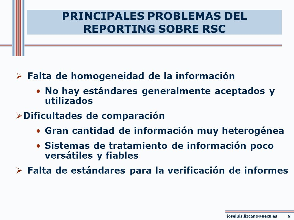 PRINCIPALES PROBLEMAS DEL REPORTING SOBRE RSC