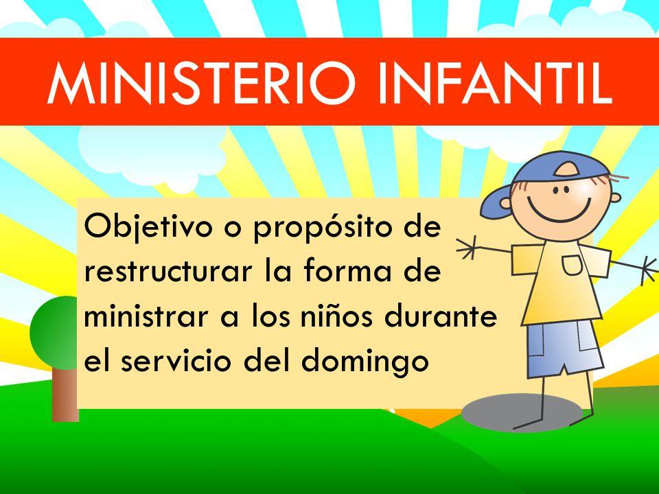 MINISTERIO INFANTIL Objetivo o propósito de restructurar la forma de ministrar a los niños durante el servicio del domingo.