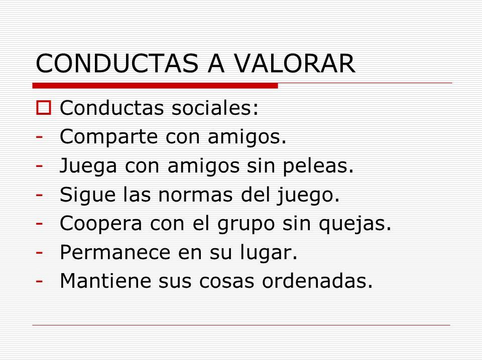 CONDUCTAS A VALORAR Conductas sociales: Comparte con amigos.