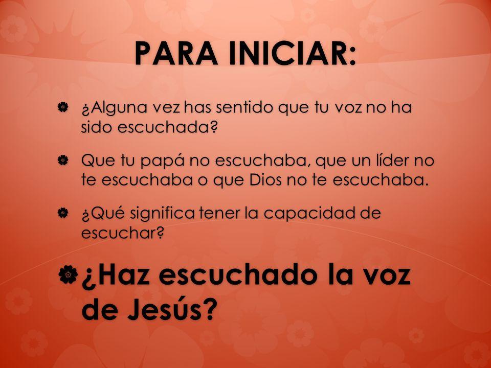 PARA INICIAR: ¿Haz escuchado la voz de Jesús