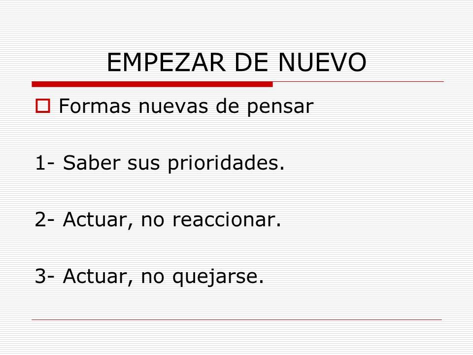 EMPEZAR DE NUEVO Formas nuevas de pensar 1- Saber sus prioridades.