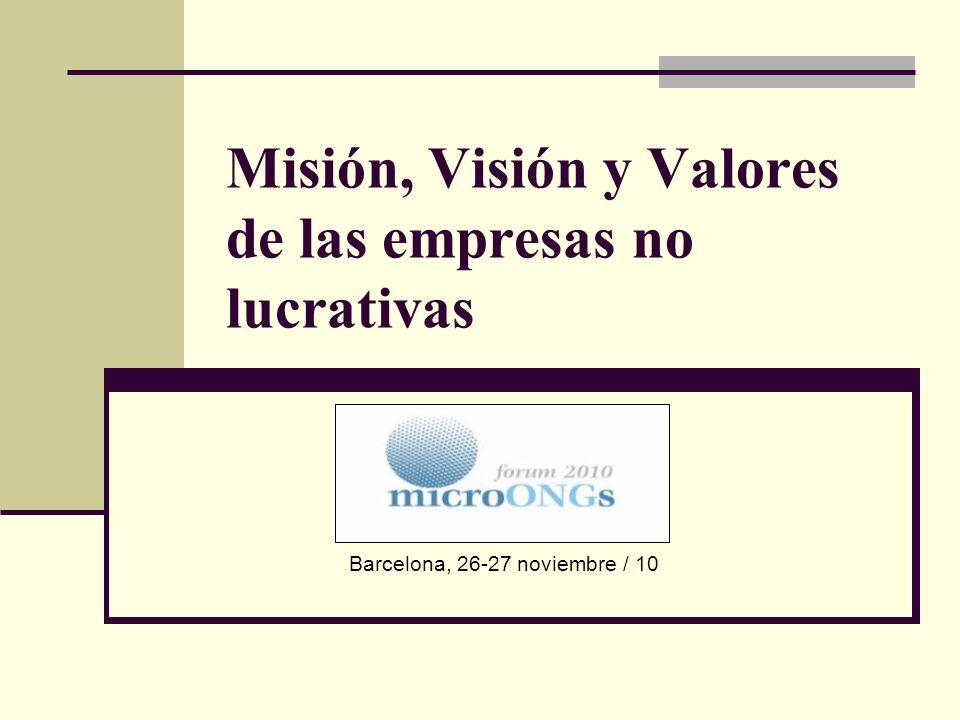 Misión, Visión y Valores de las empresas no lucrativas