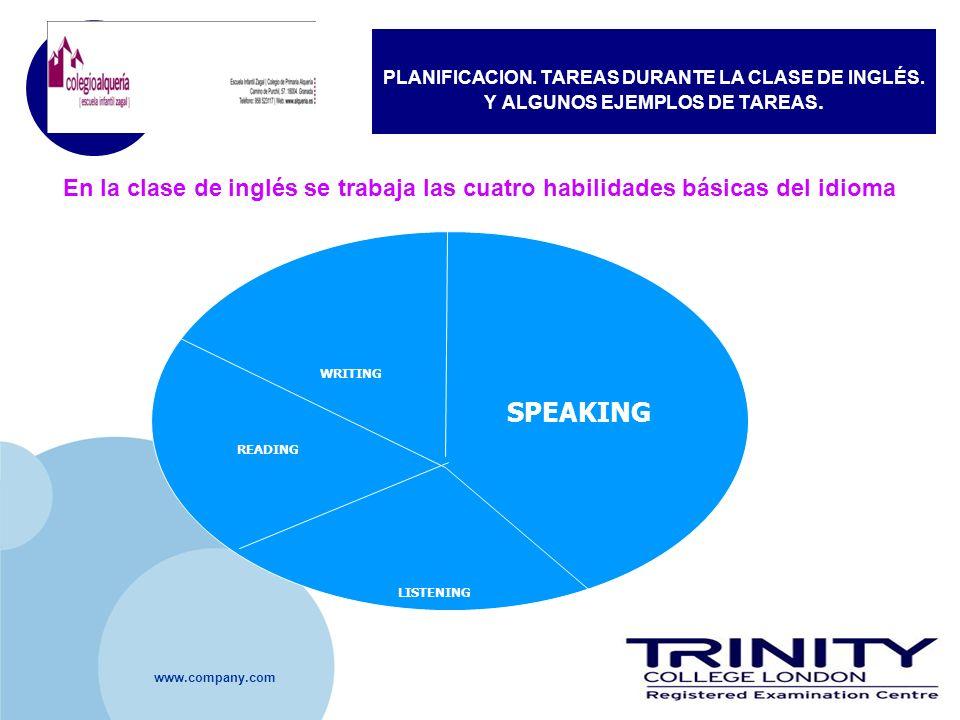 PLANIFICACION. TAREAS DURANTE LA CLASE DE INGLÉS