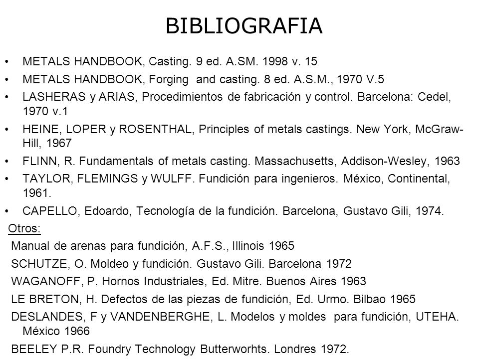 BIBLIOGRAFIA METALS HANDBOOK, Casting. 9 ed. A.SM. 1998 v. 15