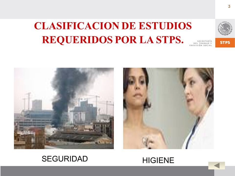 CLASIFICACION DE ESTUDIOS REQUERIDOS POR LA STPS.