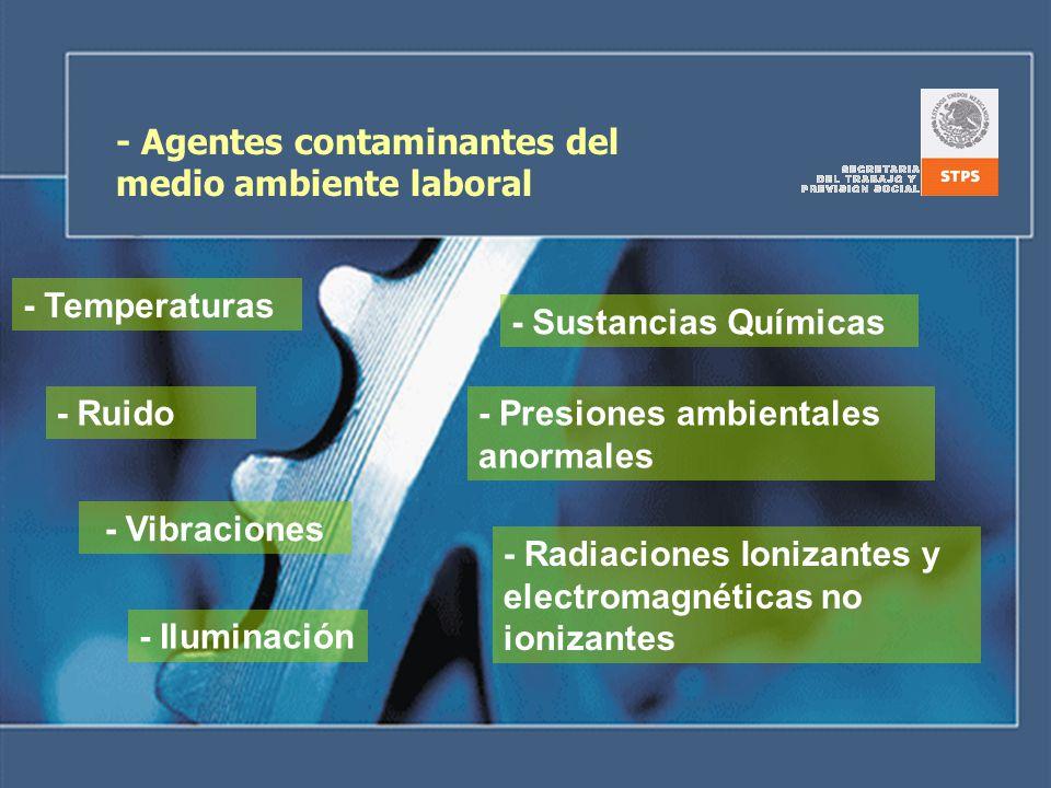 - Agentes contaminantes del medio ambiente laboral