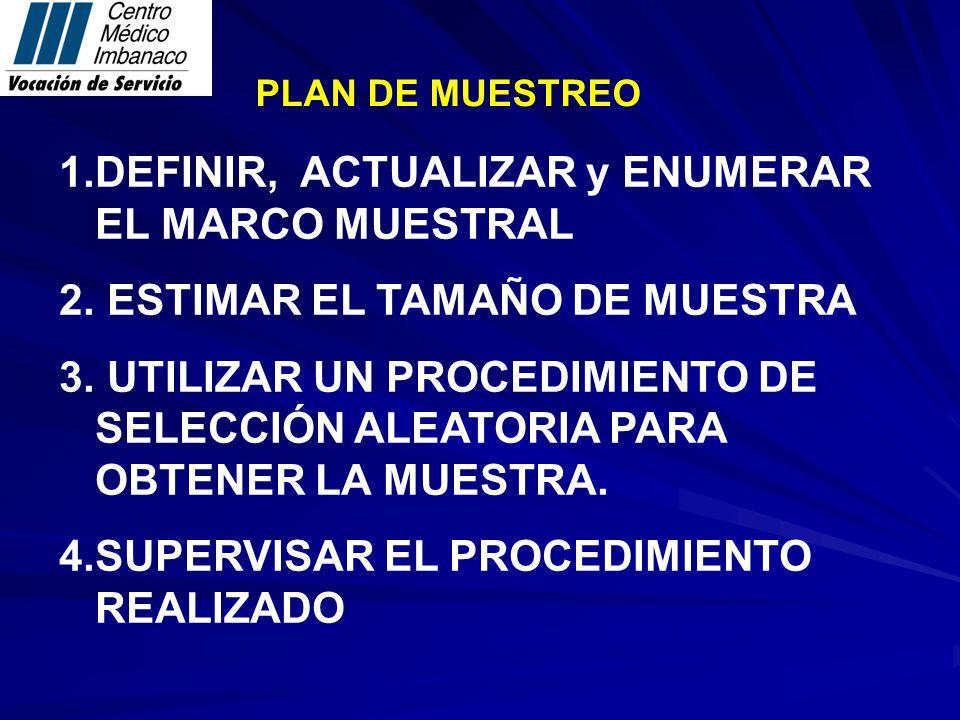 DEFINIR, ACTUALIZAR y ENUMERAR EL MARCO MUESTRAL